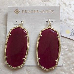 Kendra Scott Danielle Gold Maroon Earrings NWT